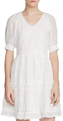 Maje Revery Broderie Anglaise & Swiss Dot Dress
