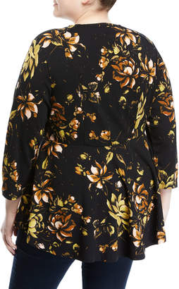 Melissa McCarthy Jungle-Flower Lace-Front Peplum Blouse, Plus Size