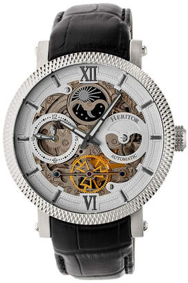 Heritor Automatic Aries Silver Leather Watches 43mm