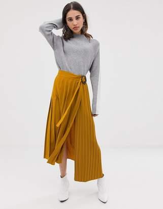 Asos Design DESIGN mixed pleat midi skirt with buckle