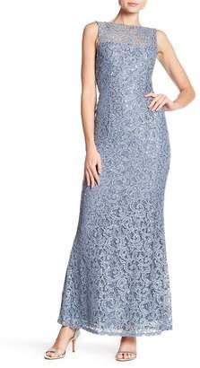 Marina Sleeveless Illusion Yoke Lace Gown