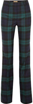 Michael Kors Tartan Wool-blend Flared Pants - Navy