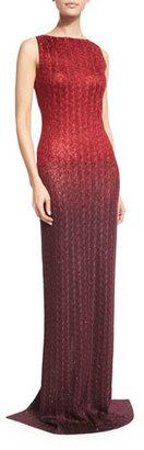 St. John Collection Riviera Sequined Bateau-Neck Gown, Paprika/Pomegranate $3,495 thestylecure.com