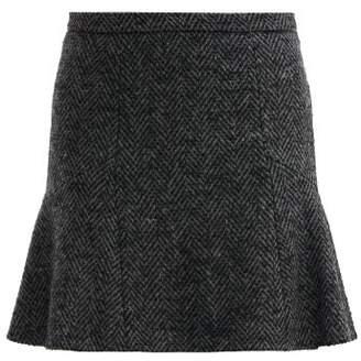 RED Valentino Mid Rise Herringbone Tweed Mini Skirt - Womens - Grey
