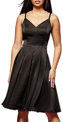 Yumi Jewelled Satin Dress, Black