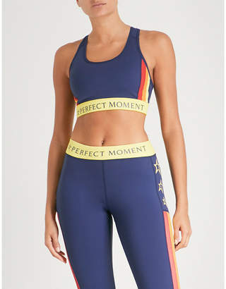 Perfect Moment Logo waistband stretch-jersey sports bra