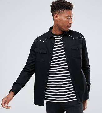 Asos Design DESIGN Tall regular fit western shirt with stud details