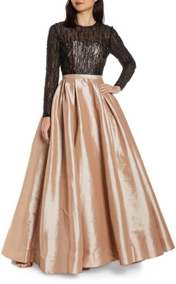 Mac Duggal Long Sleeve Illusion Lace Bodice Prom Dress
