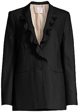 Rebecca Taylor Women's Stretch-Wool Ruffle Suit Jacket