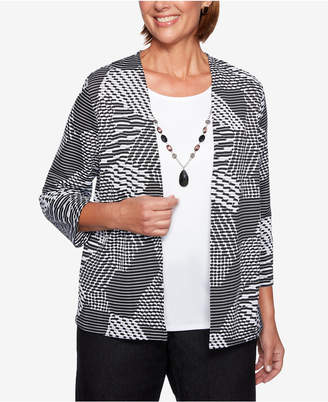 Alfred Dunner Grand Boulevard Graphic-Print Layered-Look Necklace Top