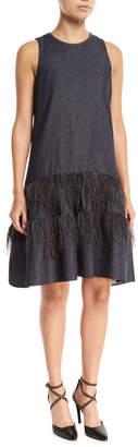 Brunello Cucinelli Sleeveless A-Line Denim Dress with Ostrich Feathers