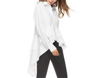 QIANNVSHEN Blouses & Button-Down Shirts QIANNVSHEN Chic Women Cascading Ruffle Lapel Long Sleeve High Low Blouse L
