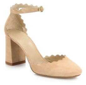 Chloé Lauren Scalloped Suede d'Orsay Block Heel Pumps