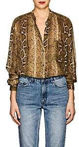 Etoile Isabel Marant Women's Jaws Snake-Print Chiffon Blouse-Brown