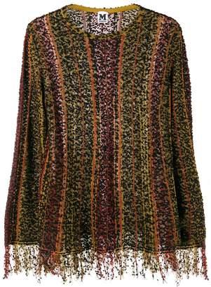 M Missoni striped fringed knit top