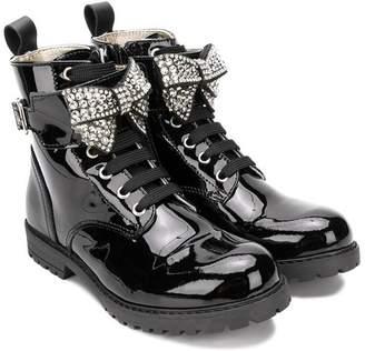 MonnaLisa embellished encrusted bow boots
