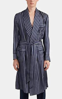 Barneys New York Men's Striped Silk Twill Robe - Blue