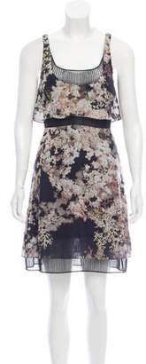 Ralph Rucci Mesh-Paneled Floral Dress