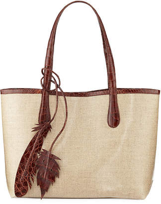 Nancy Gonzalez Erica Small Linen Leaf Tote Bag