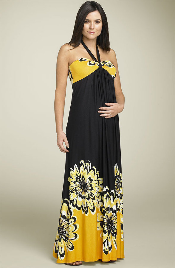 Olian Maternity Floral Halter Maxi Dress
