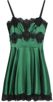 Dolce & Gabbana Lace-trimmed Pleated Silk-blend Satin Mini Dress