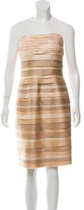 Carmen Marc Valvo Strapless Silk Bow-Accented Dress Champagne Strapless Silk Bow-Accented Dress