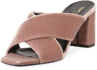 Saint Laurent Lou Lou Velvet Slide Sandals