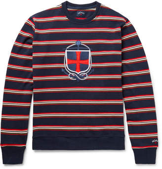 Appliquéd Striped Cotton Sweatshirt