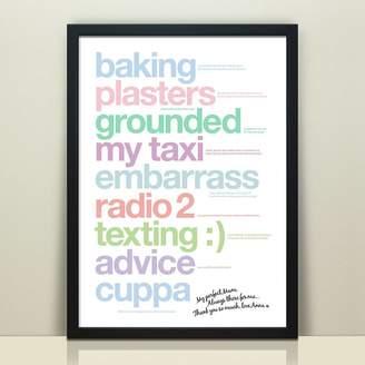Wordplay Design Personalised 'My Perfect Mum' Print