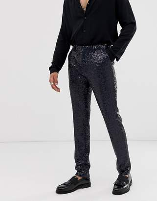Asos Design DESIGN super skinny smart pants in black sequin