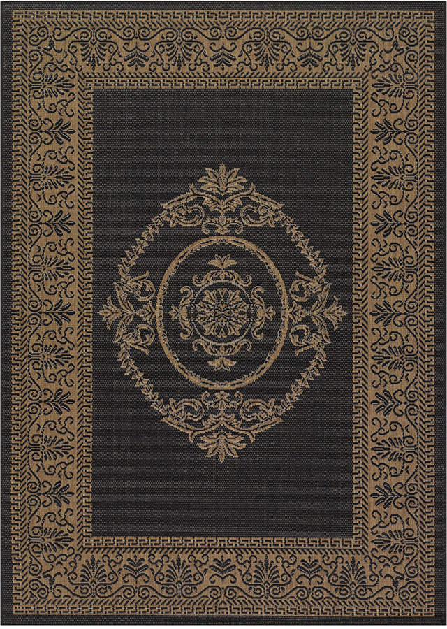 "Couristan Couristan Recife Indoor/Outdoor Antique Medallion Black-Cocoa 2'3"" x 11'9"" Runner Rug"