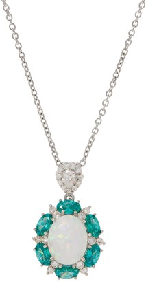 Diamonique and Synthetic Opal Pendant w/ Chain, Sterling Silver