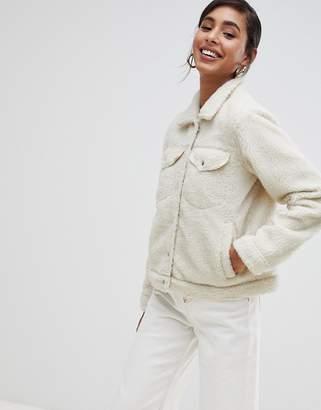 Brave Soul tedd trucker borg fleece jacket