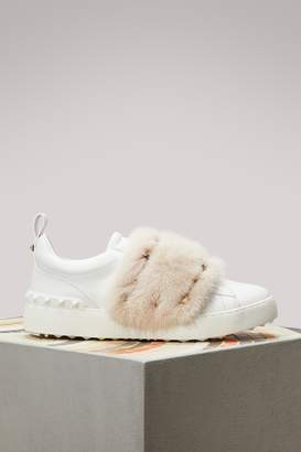 Valentino Mink Studded Sneakers