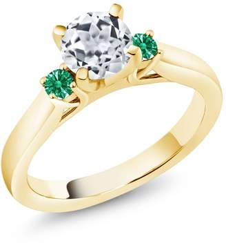 Swarovski Gem Stone King 1.12Ct White Topaz Zirconia 18K Yellow Gold Plated Silver 3-Stone Ring