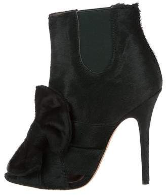 Jean-Michel Cazabat for Sophie Theallet Ponyhair Peep-Toe Ankle Boots