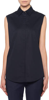 The Row Mirabal Sleeveless Poplin Button-Front Blouse