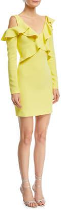 Cushnie et Ochs Bella Long-Sleeve Cold-Shoulder Ruffled Mini Dress