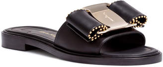 Salvatore Ferragamo Isera black leather studded bow slide sandals