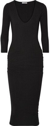 James Perse - Ruched Stretch-cotton Jersey Midi Dress - Black $225 thestylecure.com
