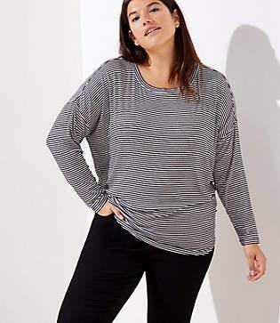LOFT Plus Striped Dolman Shirttail Tee