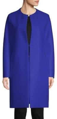 Harris Wharf London Women's Virgin Wool Collarless Coat - Bright Blue - Size 38 (2)