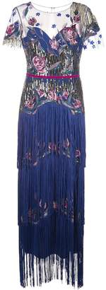 Marchesa tiered fringe evening gown