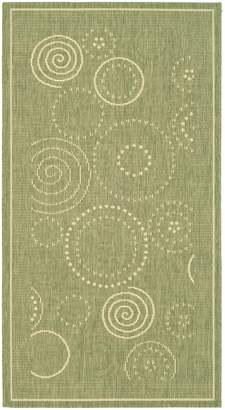 "Safavieh Courtyard Collection CY1906-1E06 Olive and Natural Indoor/ Outdoor Area Rug, 6 feet 7 inches by 9 feet 6 inches (6'7"" x 9'6"")"
