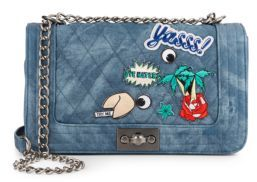 Frankee Quilted Denim Chain Crossbody Bag $78 thestylecure.com