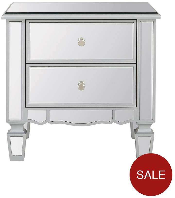 Ideal Home Mirage 2 Drawer Mirrored Bedside Chest