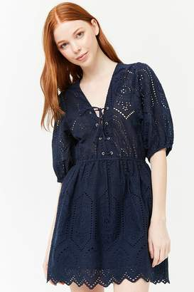 Forever 21 Lace-Up Floral Eyelet Mini Dress