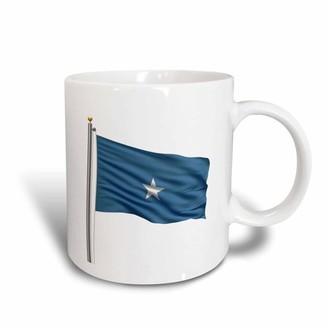 3dRose Flag of Somalia on a flag pole over white Somali, Ceramic Mug, 15-ounce