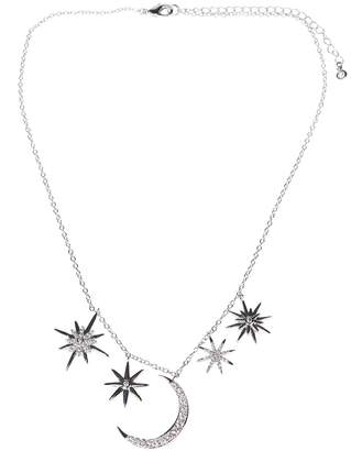 Kenneth Jay Lane CZ By Pave CZ Moon & Stars Pendant Necklace
