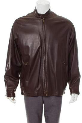 Loro Piana Leather Cafe Racer Jacket
